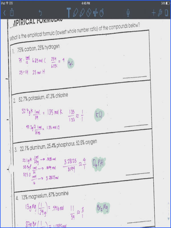 Worksheet on Empirical Formulas Percent position and others