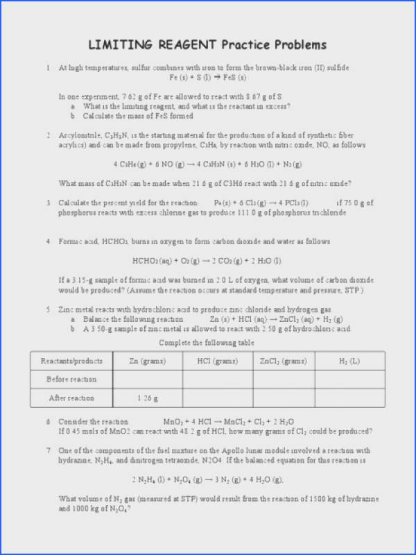 Limiting Reagent Practice Problems Worksheet for 10th Higher Ed