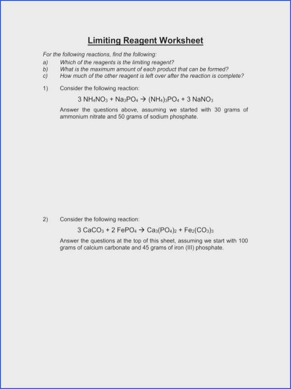 Limiting Reagent Worksheet Answers limiting reactant worksheet with answers worksheets