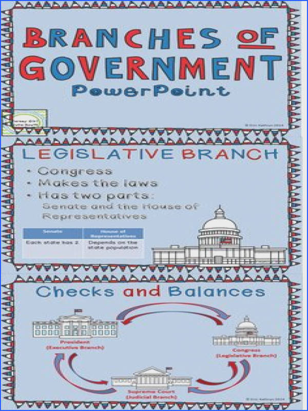 This bundle includes a PowerPoint that outlines the three branches of government executive legislative