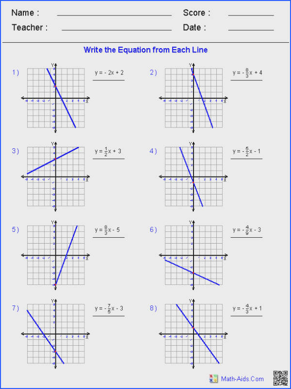 Linear Functions Worksheets