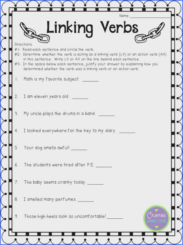 Free Linking Verbs Worksheet Check out the blog post to see the matching anchor chart
