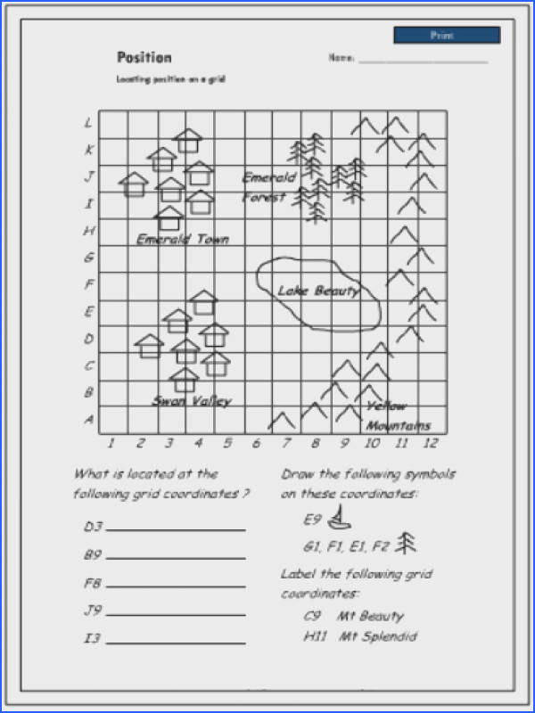 Locating position on a grid using coordinates Mathematics skills online interactive activity lessons