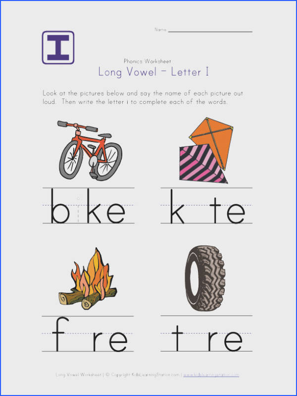 Long vowel worksheets that help kids learn the long vowel sounds of A E I O and U Look at the picture and fill in the missing long vowel for each word
