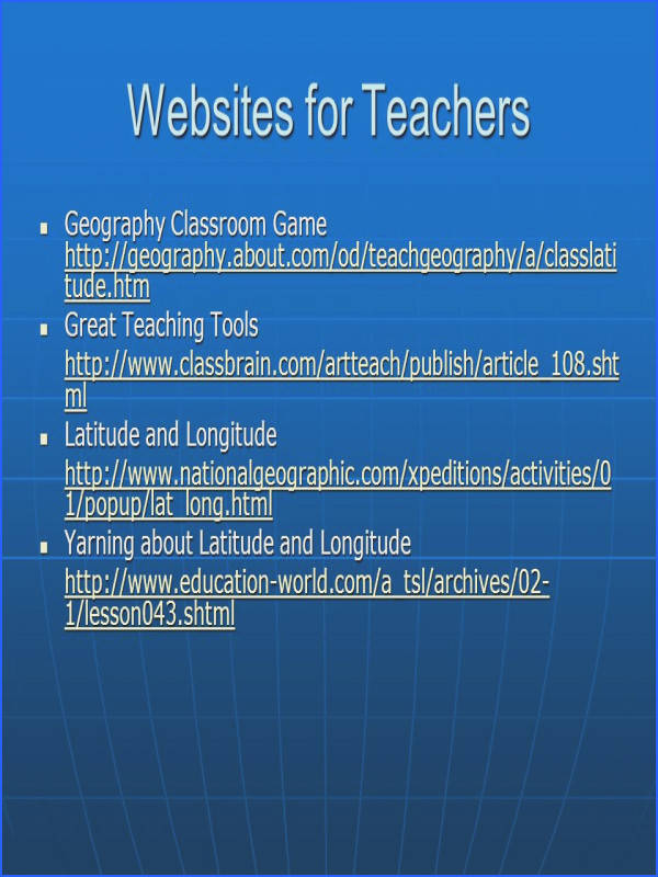 23 Websites for Teachers Geography Classroom Game Great Teaching Tools Latitude and Longitude