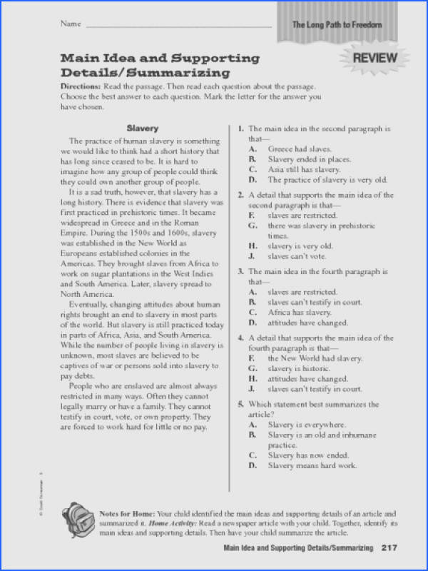 Main Idea And Supporting Details Worksheet Worksheet