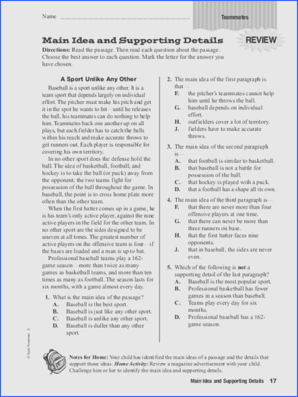 Main Idea and Supporting Details 4th 6th Grade Worksheet