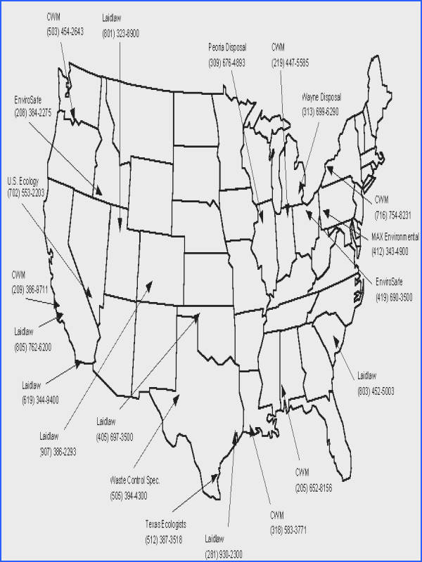 Map of the hazardous waste landfills in the United States