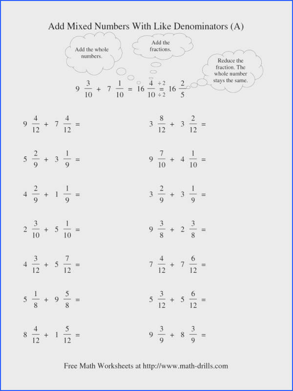 Mixed Add Like Denominator Reduction 001 Pin Math Adding And Subtracting Fractions Worksheets Subtract Ks2 Lesson