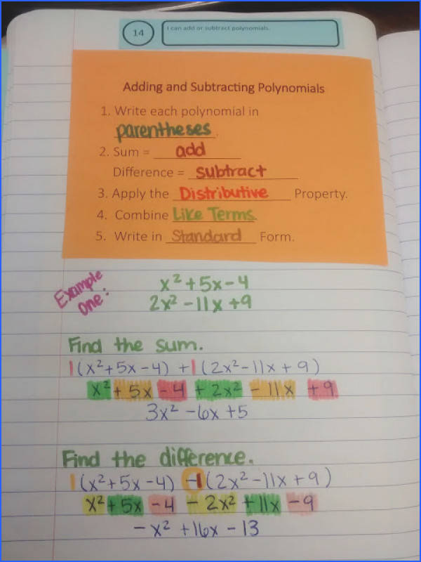 Math = Love Adding and Subtracting Polynomials Notes