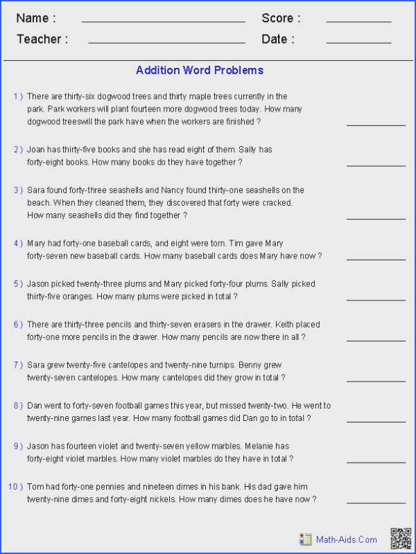Math Word Problems Grade 2 Worksheets for all Download and Worksheets