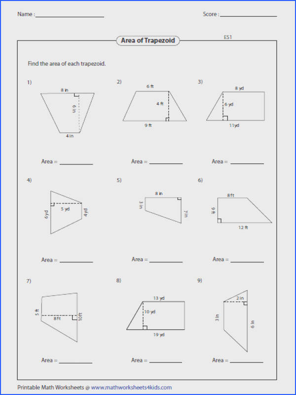 "Math Worksheets area & Maths area""""sc"" 1""st"" ""pinterest Image Below area Of A Trapezoid Worksheet"