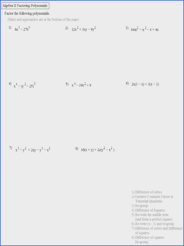 Math Worksheets Plane Algebra Ii Review mon Core Factoring Polyno Answers Fun Free Printable Worksheet Binomials