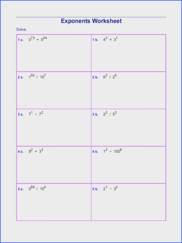 Math Worksheets Exponents Worksheet 8 Free 6th Grade Word Problemslgebra Singapore Pdf mon Core 6 Fractions