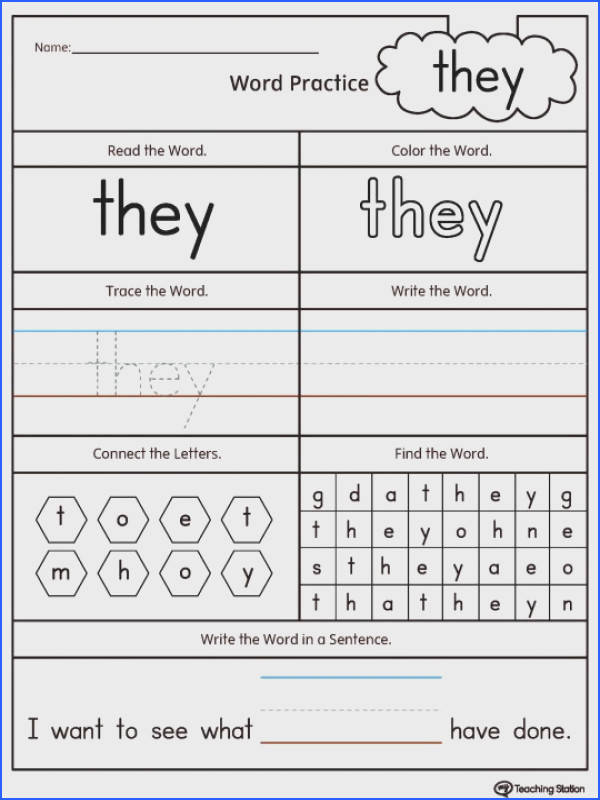 Kindergarten High Frequency Words Printable Worksheets Word They Worksheet Sight Exercises For Pdf Christmas Printables 540