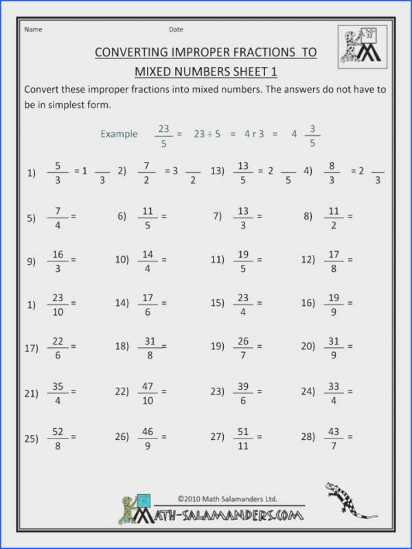 Changing Improperns To Mixed Numbers Worksheet Tes Converting Year Worksheets With Improper Fraction Number For