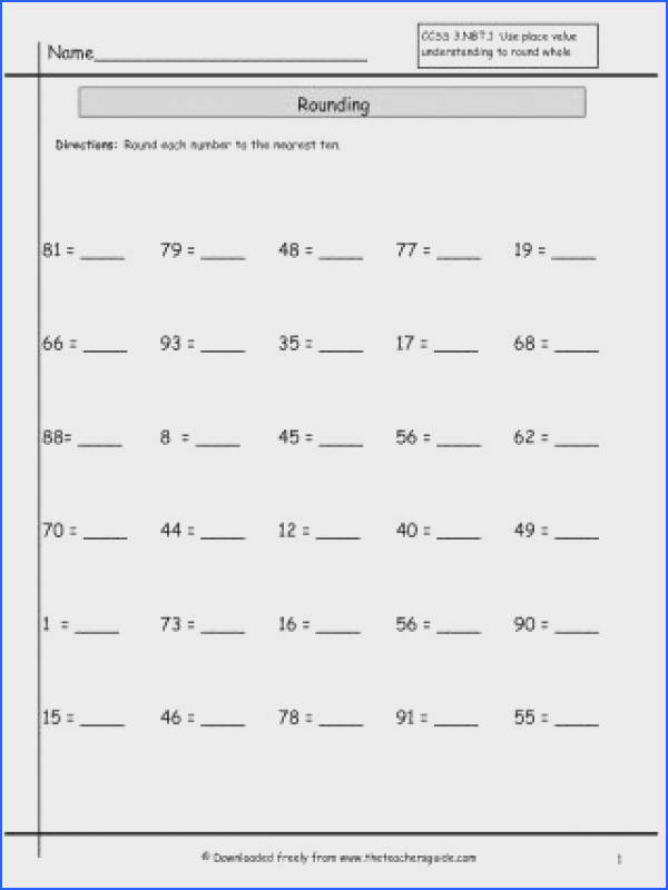 Rounding Decimals Worksheet Grade To Whole Numbers Ks2 5th mon Core Round 6 The Nearest Number