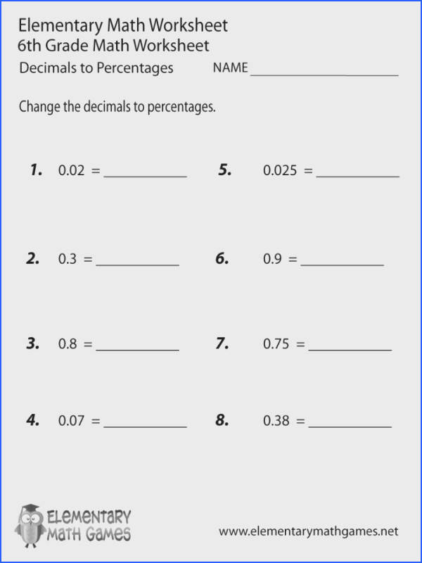 Round Decimals Worksheet Sixth Grade Math Worksheets 6th To Percentages Printable Rounding Decimal Places With Answers