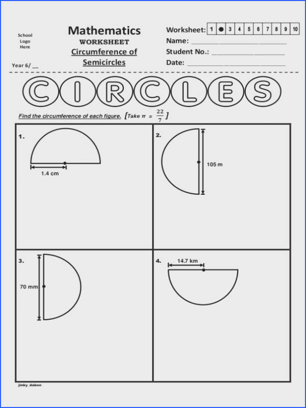 Maths Worksheets Area And Perimeter Year 6 Circumference Semicircles Worksheet Math Worksheets Area And