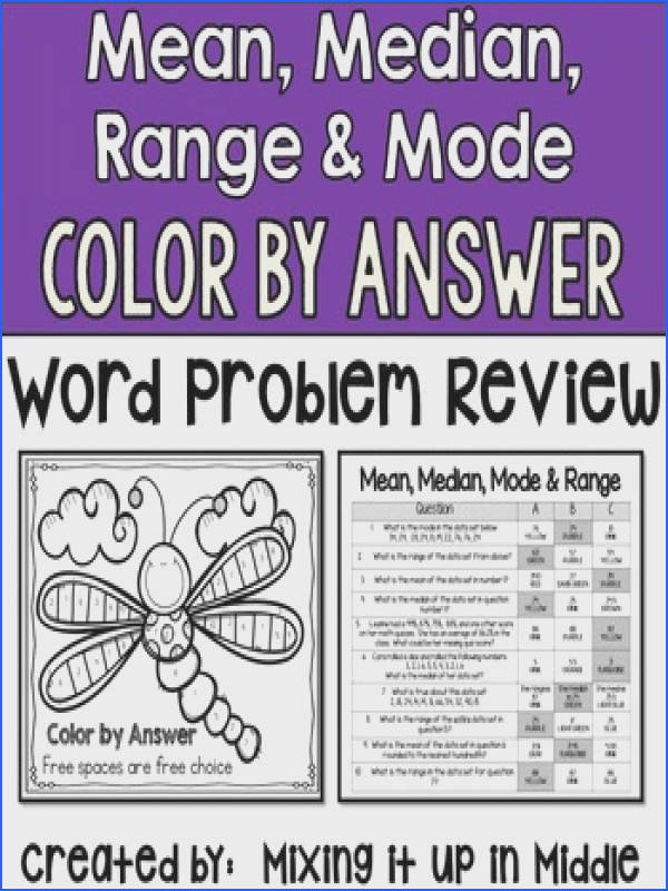 Median Mode and Range Color by Answer Word Problem Activity