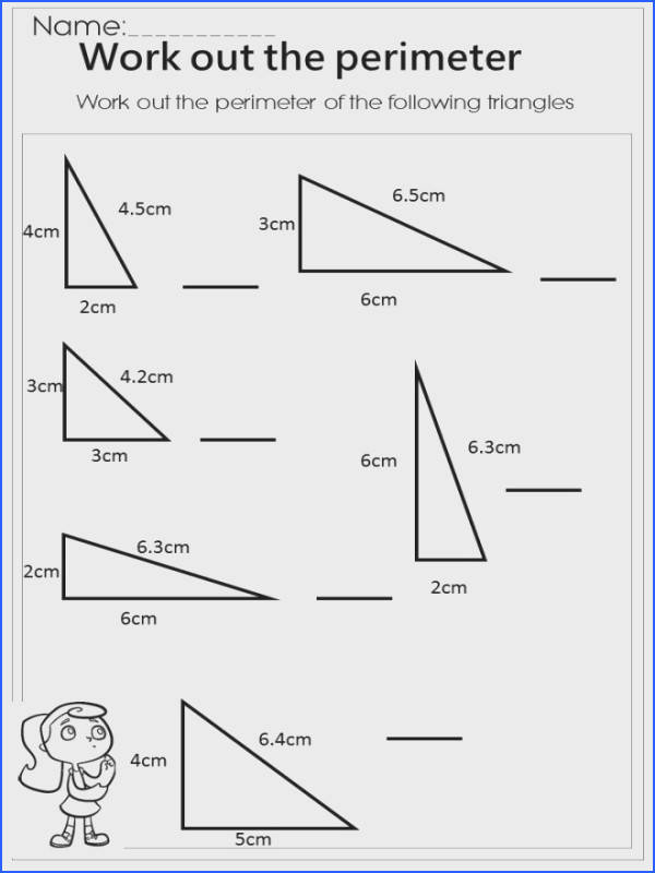 measure the perimeter triangle worksheet