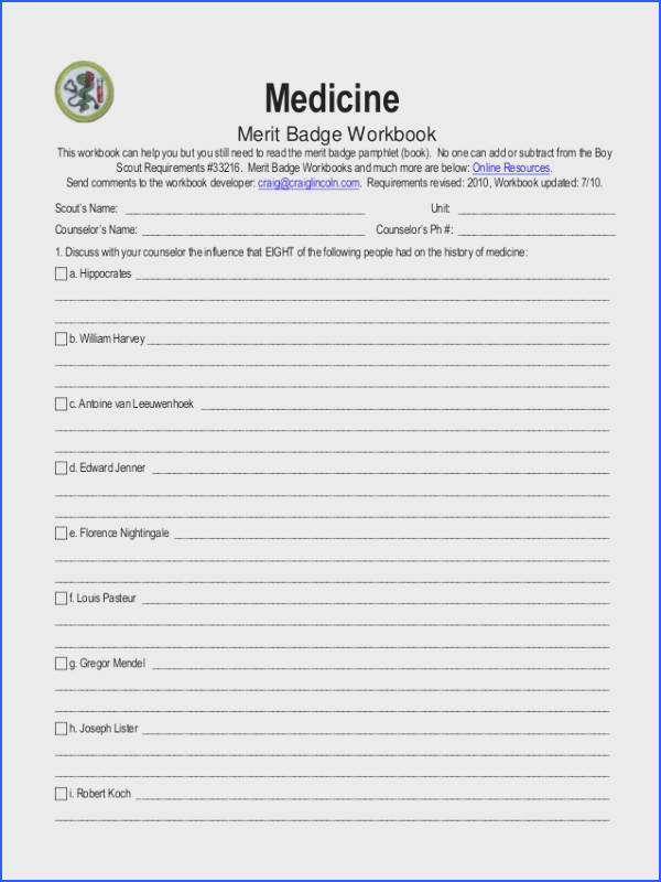 Medicine Merit Badge Workbook This workbook can help you but you still need to read the