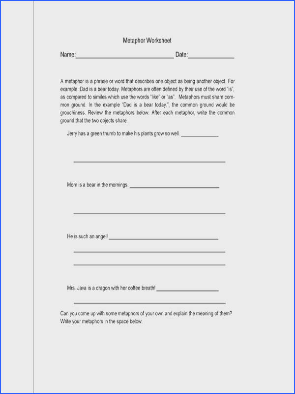 Metaphors Worksheets Middle School Worksheets for all Download and Worksheets