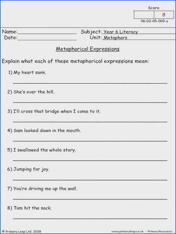 Metaphors Worksheets Worksheets for all Download and Worksheets