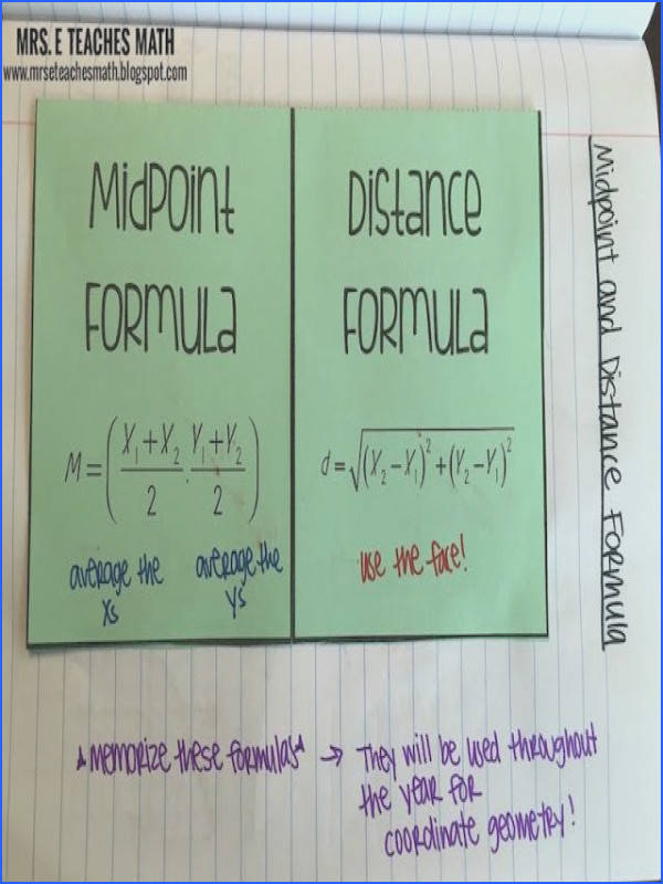 Midpoint and Distance Formula Interactive Notebook Idea