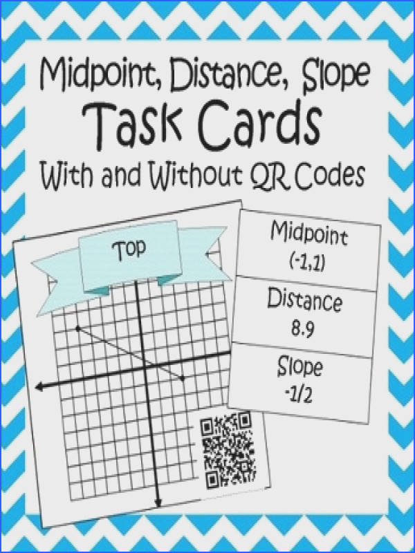 Midpoint Distance and Slope Formula Matching Cards with