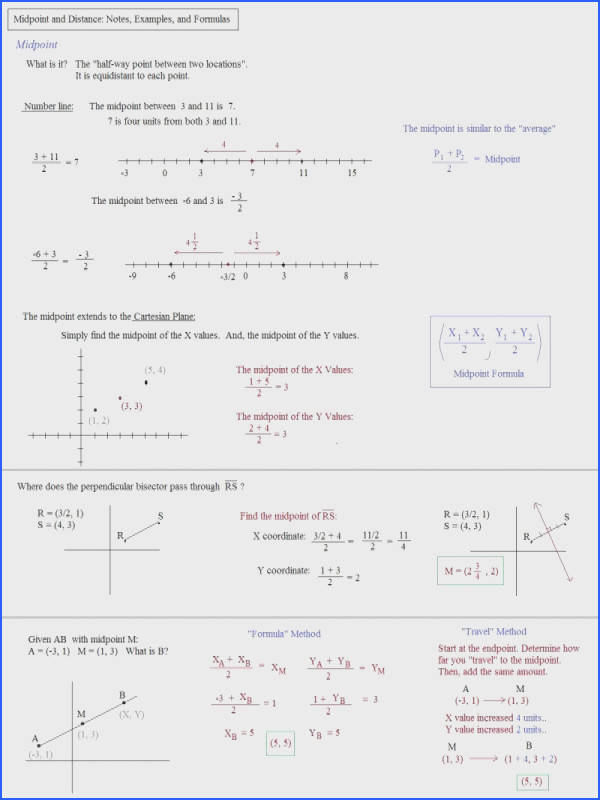 distance and midpoint worksheet pic