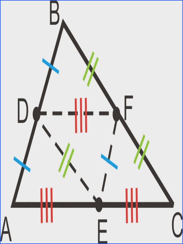 Because the midsegments are half the length of the sides they are parallel to they are congruent to half of each of those sides as marked