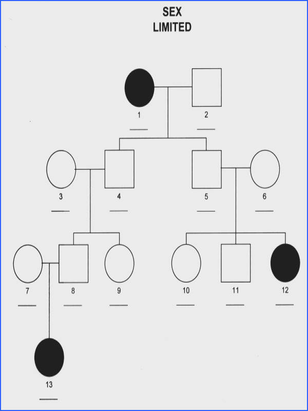 Pedigree chart showing limited inheritance example