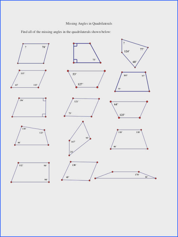 Extraordinary Missing Angles In Quadrilaterals Worksheet Tes Also Missing Angles In Quadrilaterals Worksheet Free Worksheets