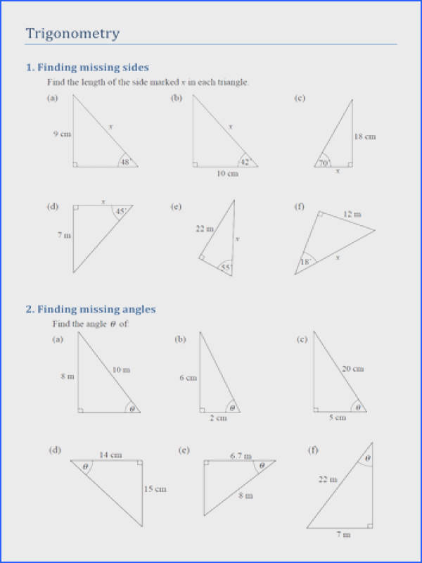 Extraordinary Missing Angles In Triangles Worksheet Tes With Additional Trigonometry Finding Missing Sides And Angles