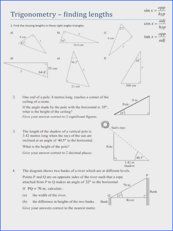 Alluring Missing Angles In Triangles Worksheet Tes Also Trigonometry Finding Lengths Worksheet By Tristanjones of