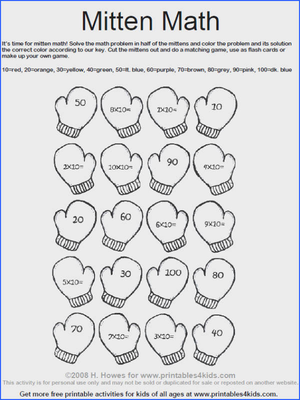 Mitten Math Multiplication worksheet Printables for Kids – free word search puzzles coloring pages