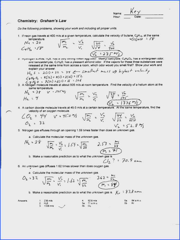 Gas Law Review Worksheet Answers | Mychaume.com