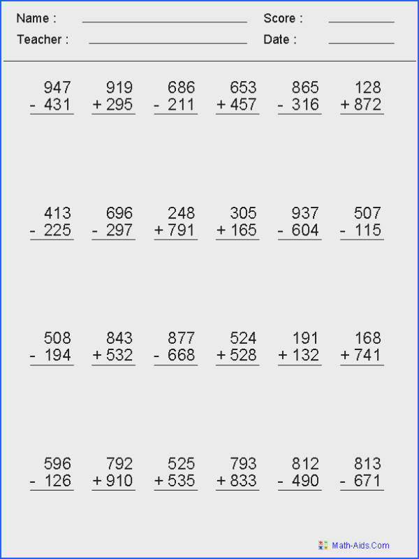 2 3 or 4 Digits Mixed Operator Worksheets
