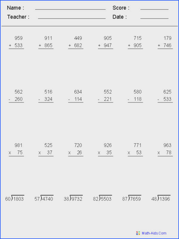 Adding Subtracting Multiplying & Dividing Mixed Problems Worksheets