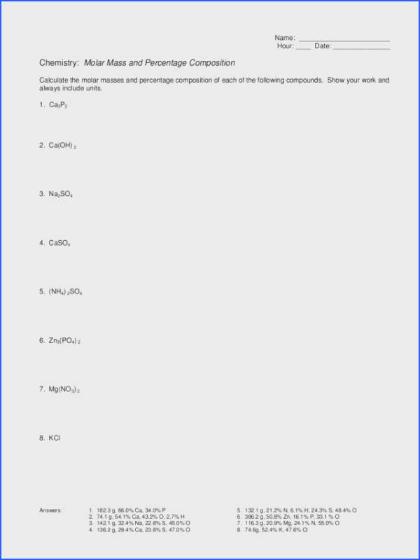 Molar Mass and Percentage position Worksheet for 9th 12th Grade