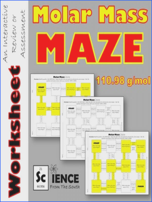 Molar Mass Maze Worksheet for Review or Assessment