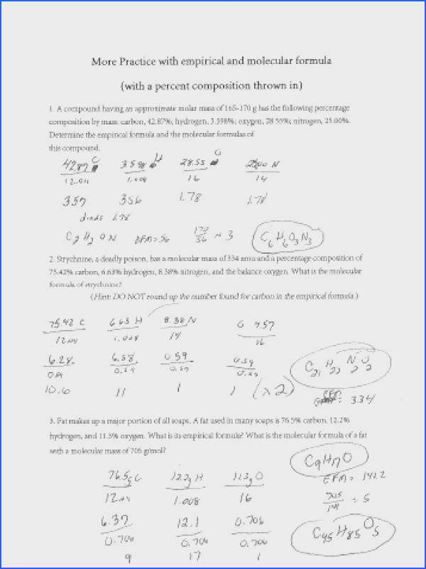 More Practice with empirical and molecular formula with a percent