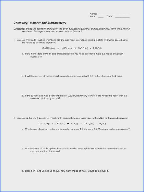Molarity and Stoichiometry Worksheet for 10th Higher Ed