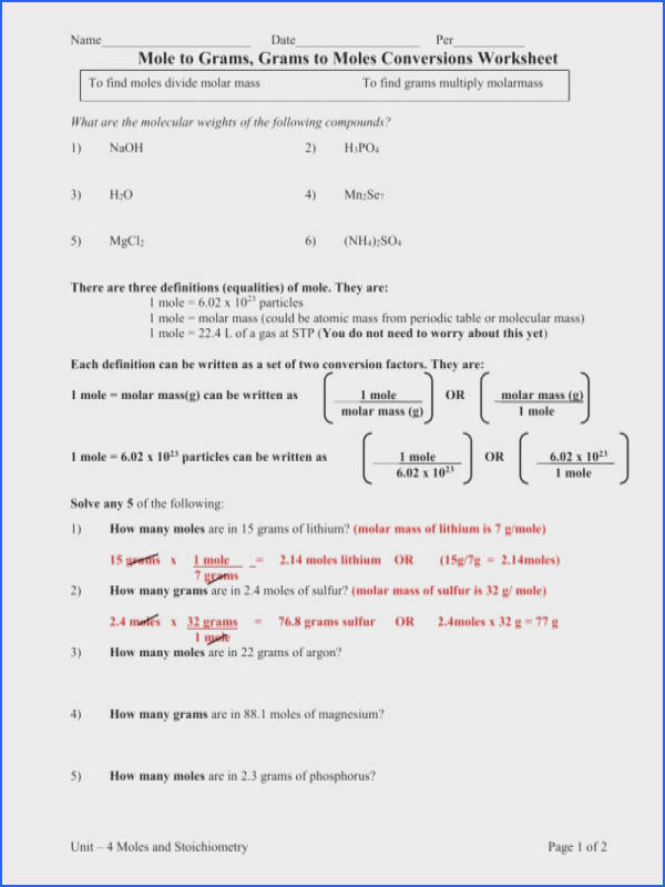 Source · Molarity Calculation Worksheet Worksheets Guillermotull