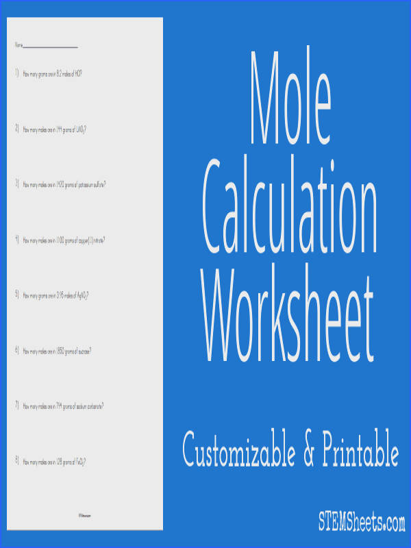 mole calculation worksheet