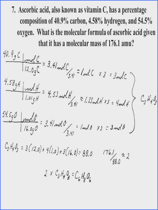 Mole Mass Problems Worksheet Answers Best Empirical & Molecular formulas Worksheet Key Ppt
