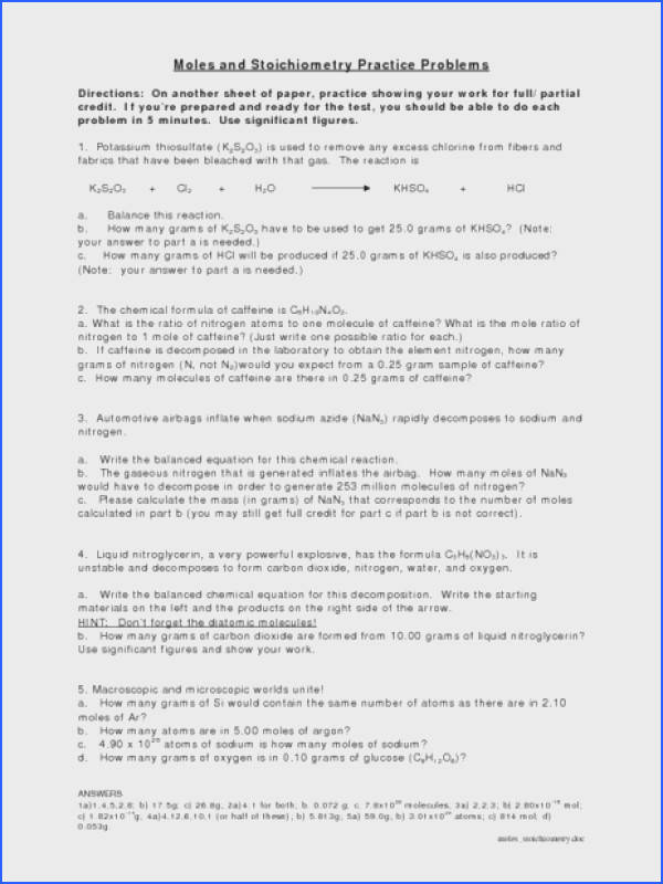 Moles and Stoichiometry Practice Problems Worksheet for 9th 12th Grade