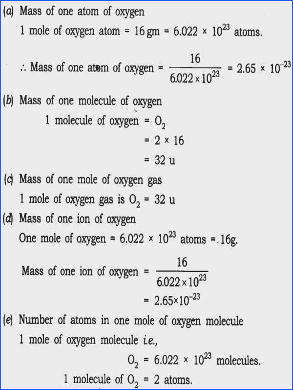 Moles Molecules and Grams Worksheet Answers Awesome Ncert solutions for Class 9 Science atoms and Molecules