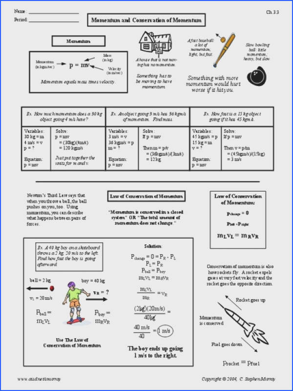 Momentum and Conservation of Momentum Worksheet for 9th 12th Grade
